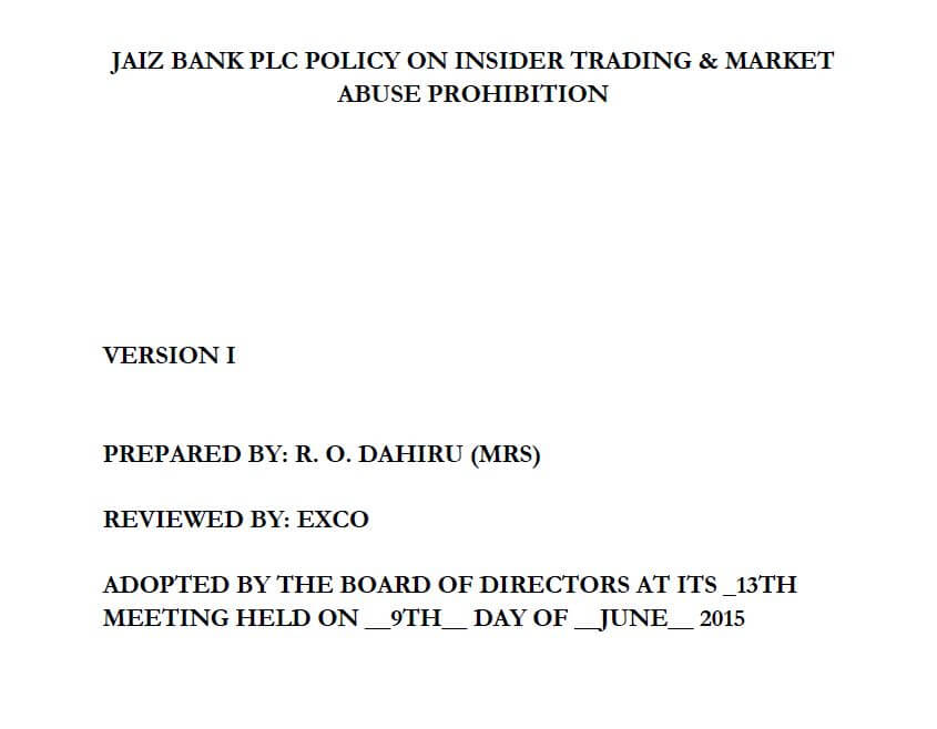 Jaiz bank Plc Policy On Insider Trading